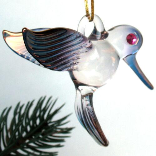 Hummingbird Figurine Glass Christmas Tree Ornament