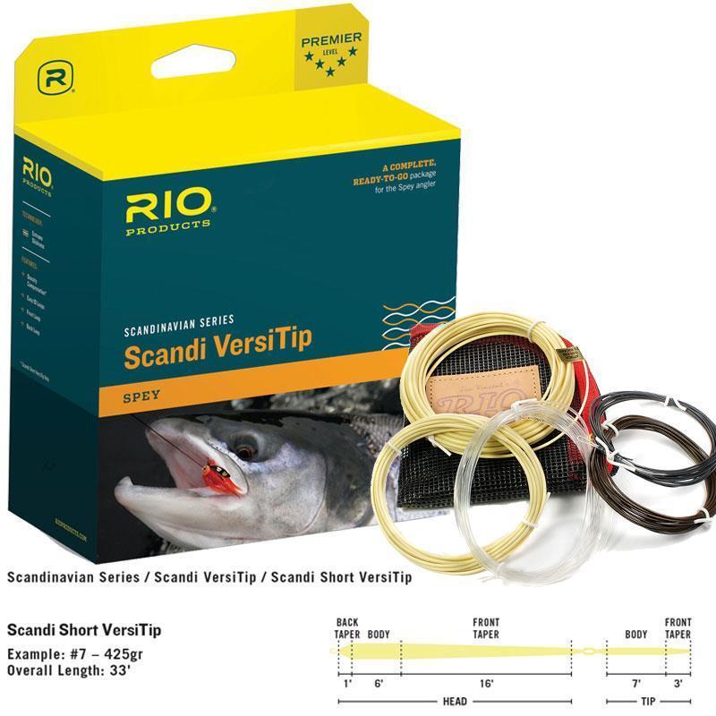 RIO NEW SCANDI SHORT VERSITIP GR GRAIN SPEY ROD FLY LINE HEAD + 4 TIPS
