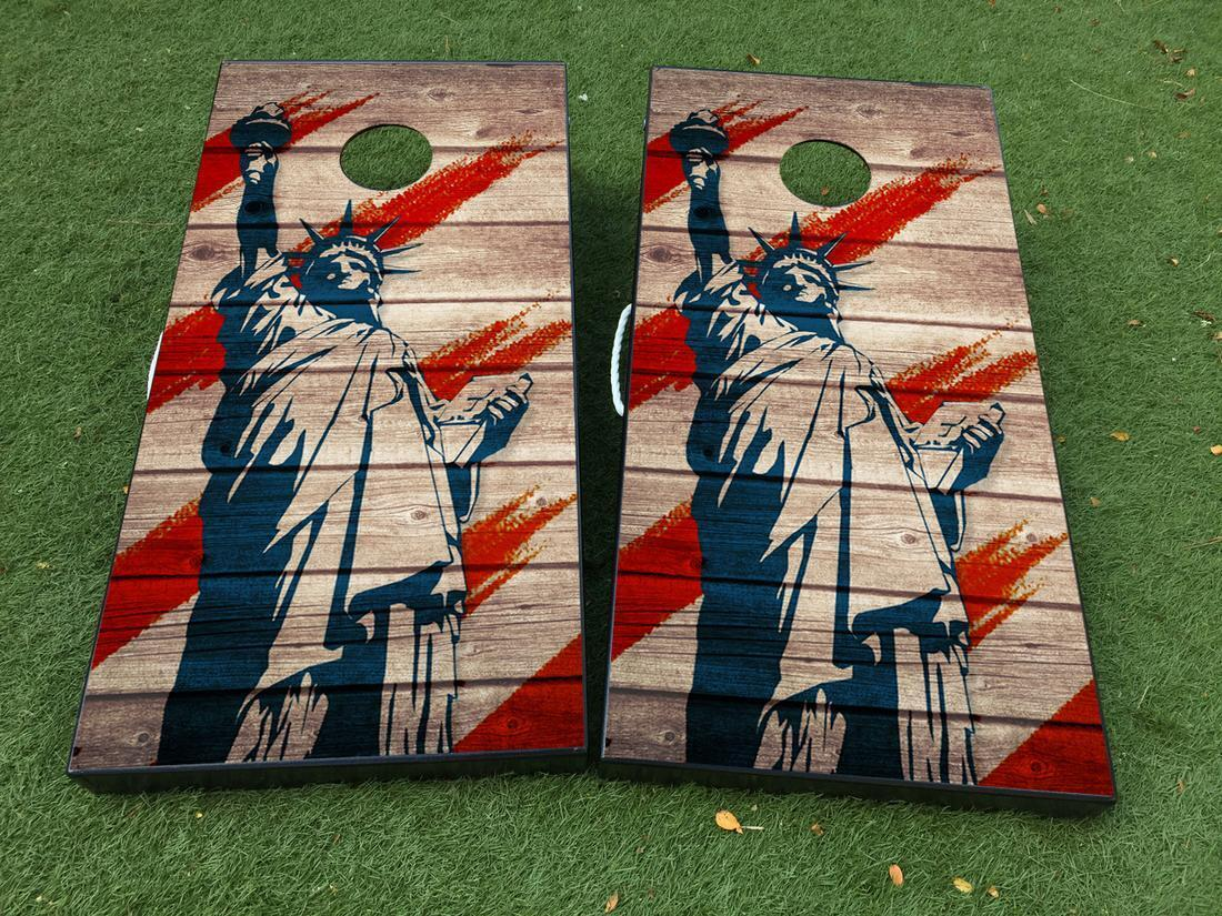 State of liberty US USA Cornhole Board Game  Decal VINYL WRAPS with LAMINATED  up to 70% off