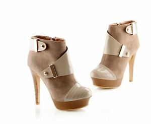 Stivaletti-stivali-scarpe-donna-tacco-spillo-12-5-cm-beige-simil-pelle-9071