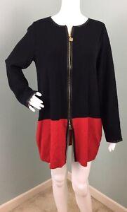 NWT-Womens-Anne-Klein-Zip-Up-Faux-Leather-Trim-Cardigan-Sweater-Sz-M-Medium