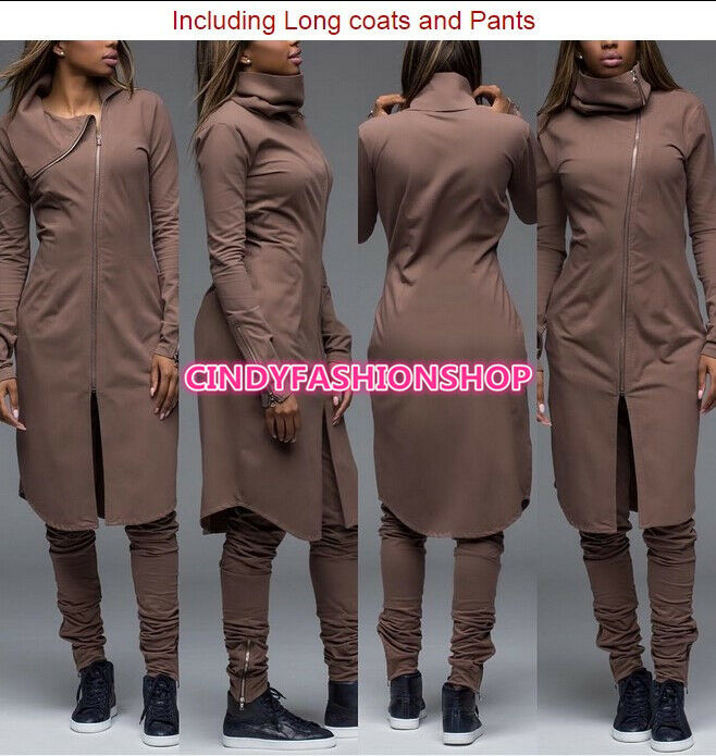 New Women Sexy Club Zipper Jumpsuit Collar Playsuit 2pc Outfit Long Pants Set