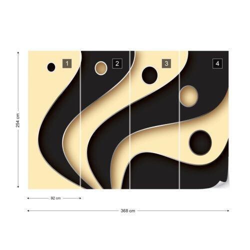 3D Couches Noir et Crème Photo Papier Peint Mural Toison facile installer papier