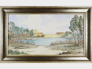 South African Lake Landscape - Guy Todd  - Original Vintage 20th C Watercolour