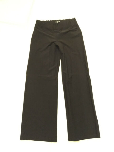 EILEEN FISHER S may fit WOMEN'S M -Black stretch Flared long pant- FABULOUS!