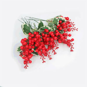 5St-Rot-Beere-Zweig-Kuenstliche-Obst-Weihnachten-Foam-Berry-Stems-DIY-Xmas-Dekor