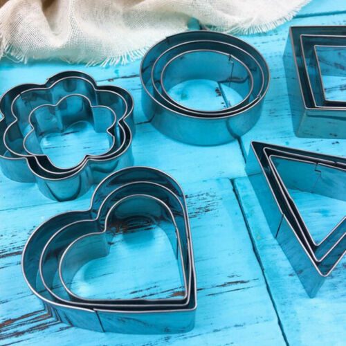 3in1 Stainless Steel Small Cake Biscuit Mold Set DIY Dessert Cookie Cutter