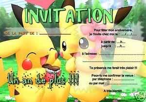 5 Ou 12 Cartes Invitation Anniversaire Pokemon Ref 289 Ebay