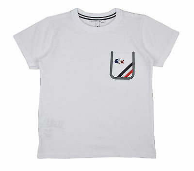 c12ffed5fb3b8 NWD Authentic Lacoste Kids White Blue Tech Striped Cotton Pocket Tee T-Shirt  Top