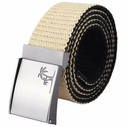 "moonsix Canvas Web Belts for Men,Solid Color Military Style 1.5/"" Wide Top Belt"
