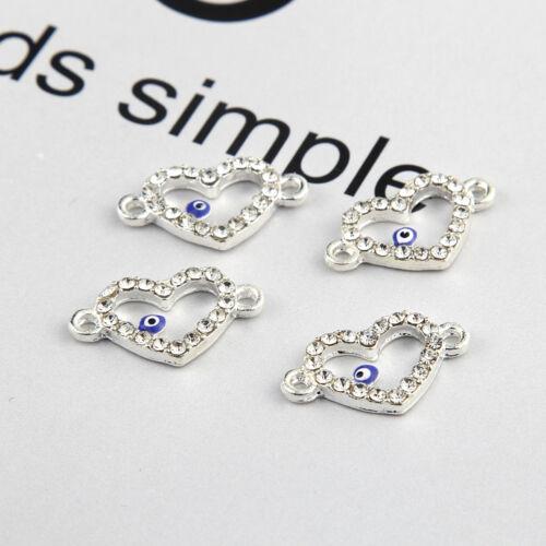 10pcs Silver Gold Beads Heart Shape Connector Rhinestones DIY Bracelet Findings