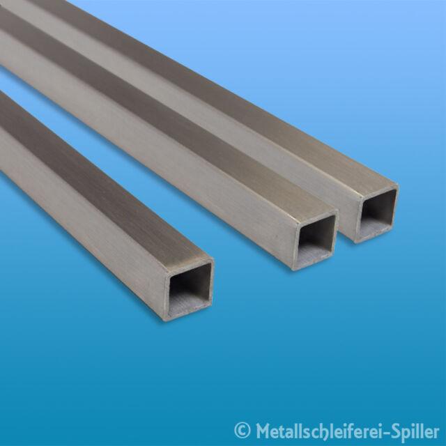 Edelstahl Vierkantrohr quadrat 15x15 bis 100x100 mm V2A 1.4301 geschliffen K240