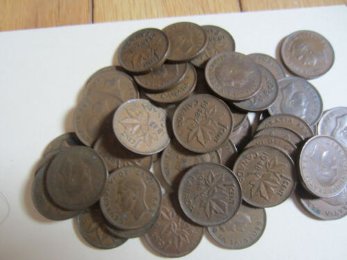Roll of 1948 Canada Small Cent Coin. 50 George VI Coins