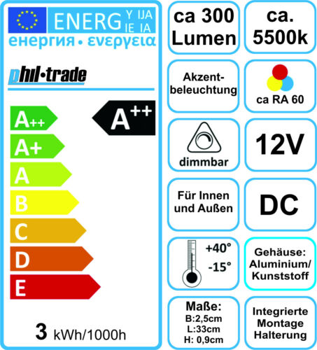 LED Unterbauleuchte 33cm kaltweiß 300lm Leiste Leuchte LA1 Alu Lichtleiste 12V