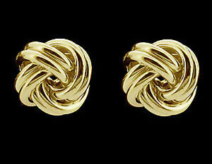 Image Is Loading 9ct Gold Plated On Silver Knot Stud Earrings