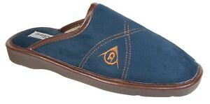 Mens Mule Slippers / Blue Leather Suede Look Warm Lined Slip On Dunlop Premier