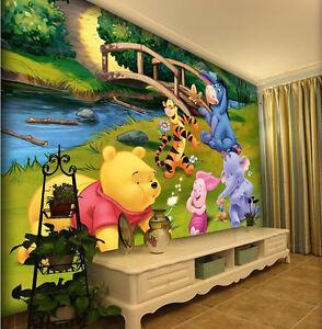 Cartoon Little Bear Wall Papers Home Decor Wallpaper Kids Baby Room