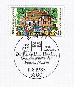 BRD-1983-Rauhes-Haus-in-Hamburg-Nummer-1186-mit-dem-Bonner-Sonderstempel-1A