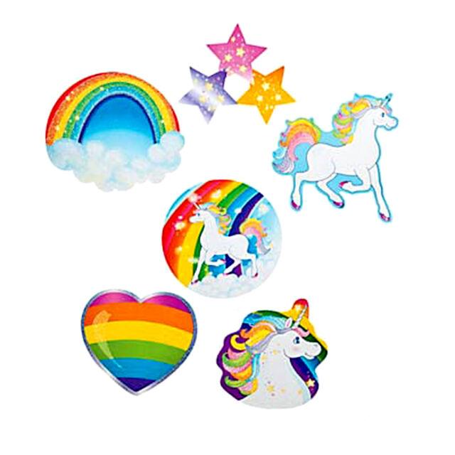 Unicorn Glitter Cutouts Rainbow Unicorns Heart Stars Party Decoration Pack of 6