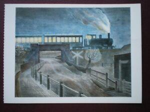 POSTCARD-RAIL-STEAM-TRAIN-GOING-OVER-A-BRIDGE-AT-NIGHT