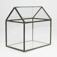 Zinc & Glass House Shaped Terrarium Candle Holder Lantern Glasshouse Planter By