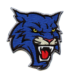 Blue Wildcat Head Applique Embroidered Iron-on Patch