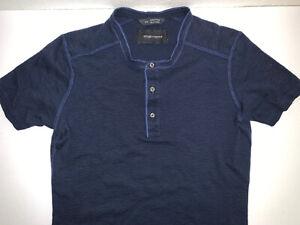 Wings-Horns-Short-Sleeve-Henley-Shirt-Men-039-s-Small-Navy