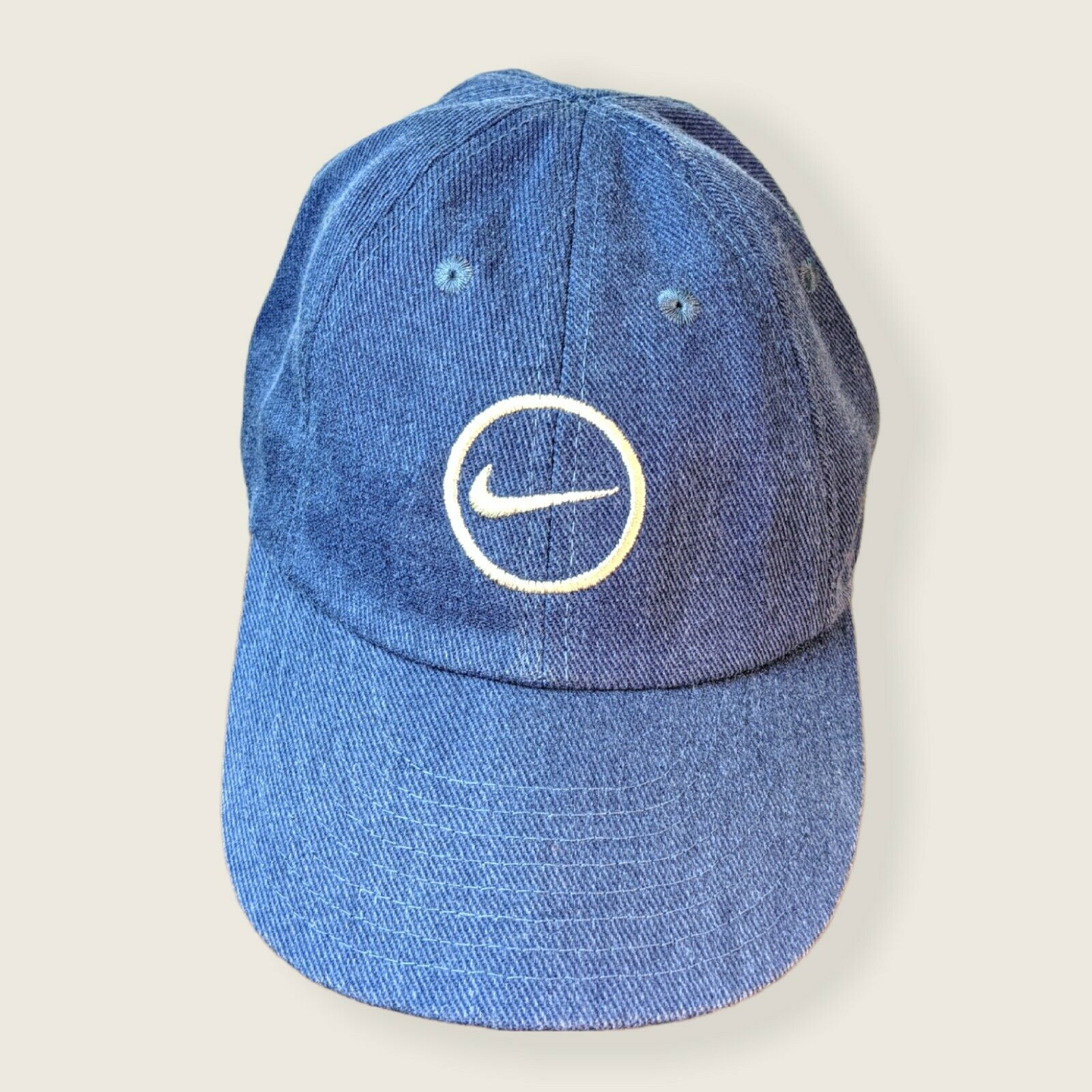 VTG Nike Embroidered Swoosh 80s Blue Canvas White Tag Hat Cap Free Shipping