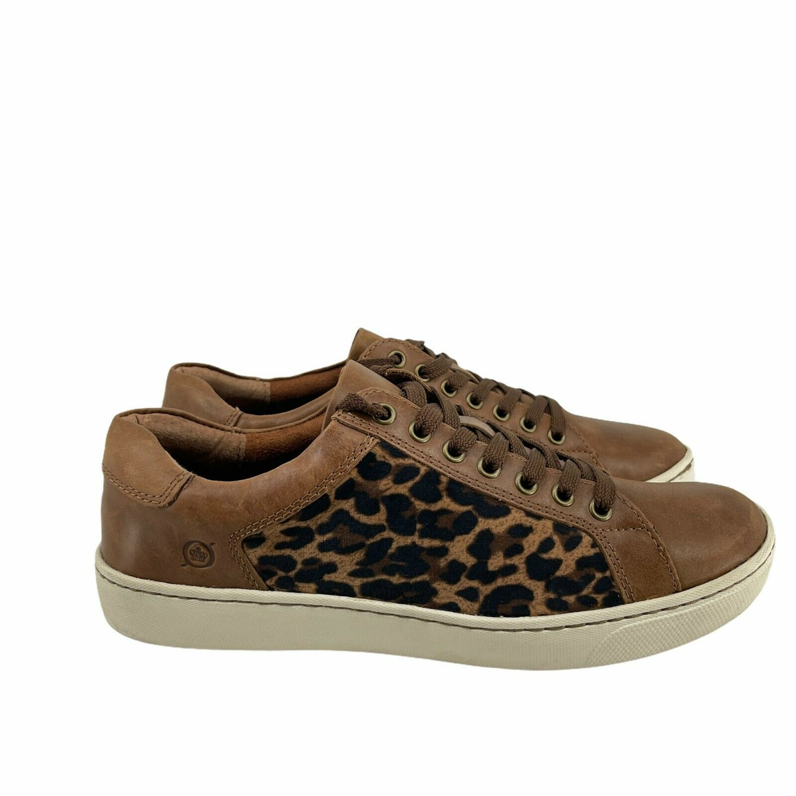 Born Shoes Women's Sur Leopard Print Fabric Brown Size 8 Casual Sneakers Lace Up