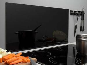 Spritzschutz Glas 40 x 80cm schwarz Glasrückwand Küche Herd Wand ...