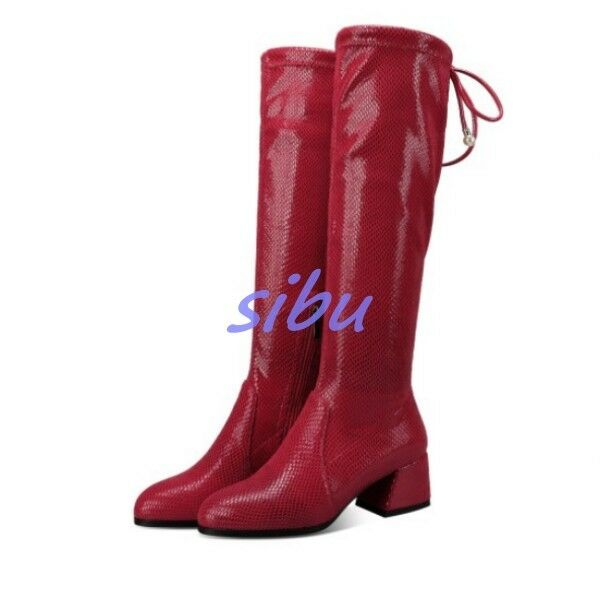 British Women Knee High Boots Real Leather Side Zip Med Block Heel shoes size sz