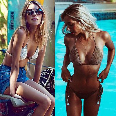 Women Halter Neck Knits Bikini Crochet Crop Top Vintage Handmade Beach Swimwear