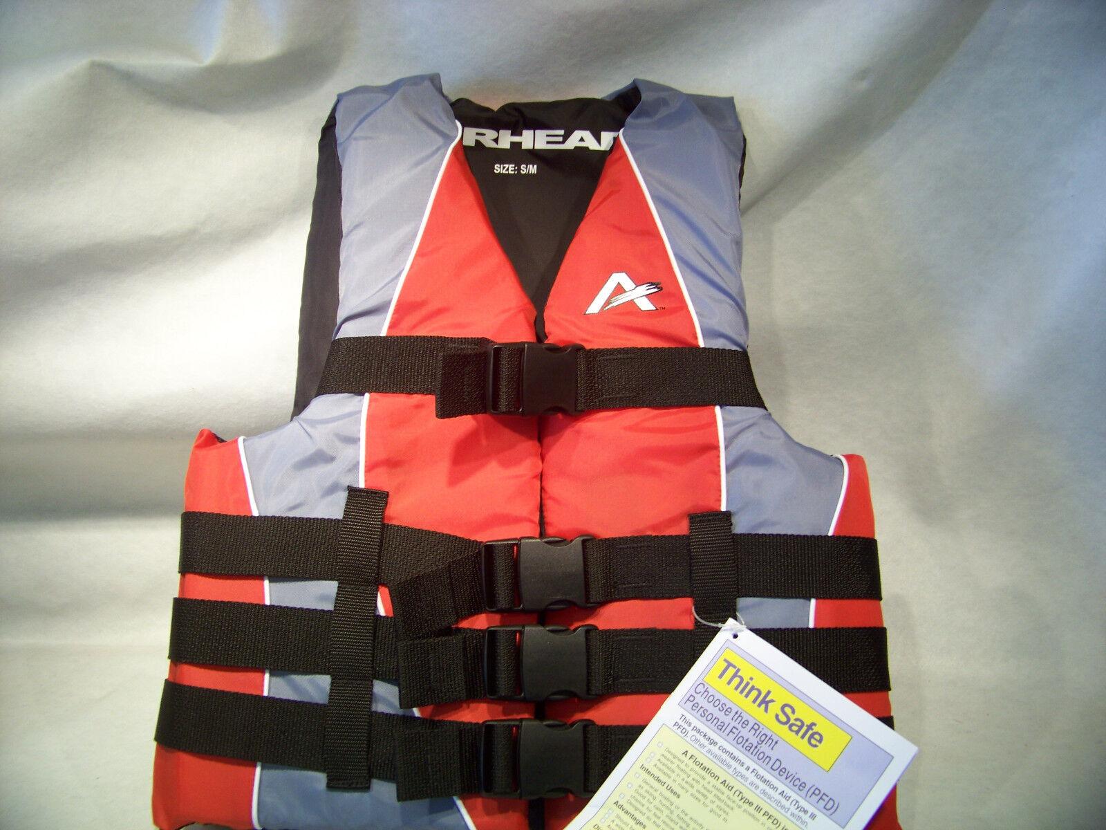 Airhead Adult Dual Size Family Nylon Life Vest  USGC Type 3 PFD  Red  S M