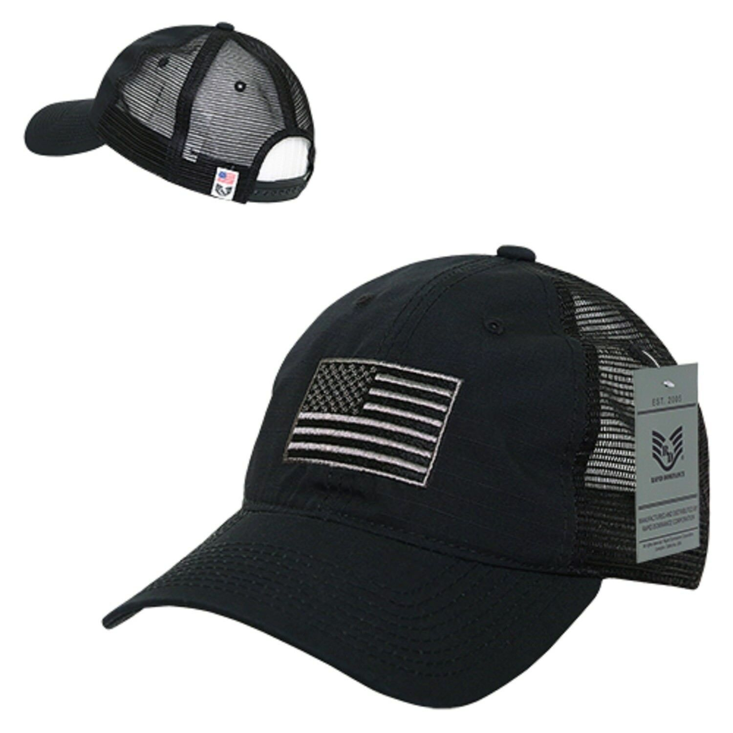 Details about Black USA US United States Flag America Ripstop Mesh Trucker  Baseball Hat Cap
