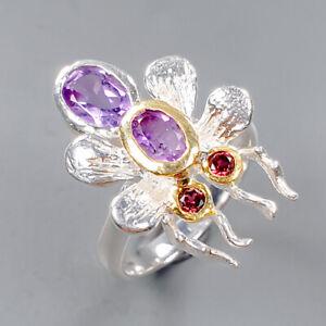 Handmade  Amethyst Ring Silver 925 Sterling  Size 7 /R154000
