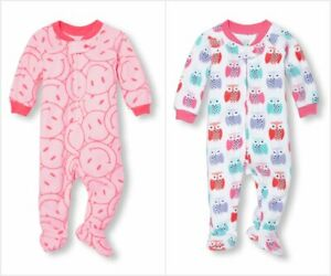 NWT The Childrens Place Rainbow Girls Pink Stretchie Footed Sleeper Pajamas