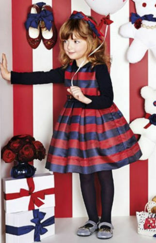 223 NEW Monnalisa Girls Navy Red Stripe Belt Long Sleeve Party Dress 4 Years 3
