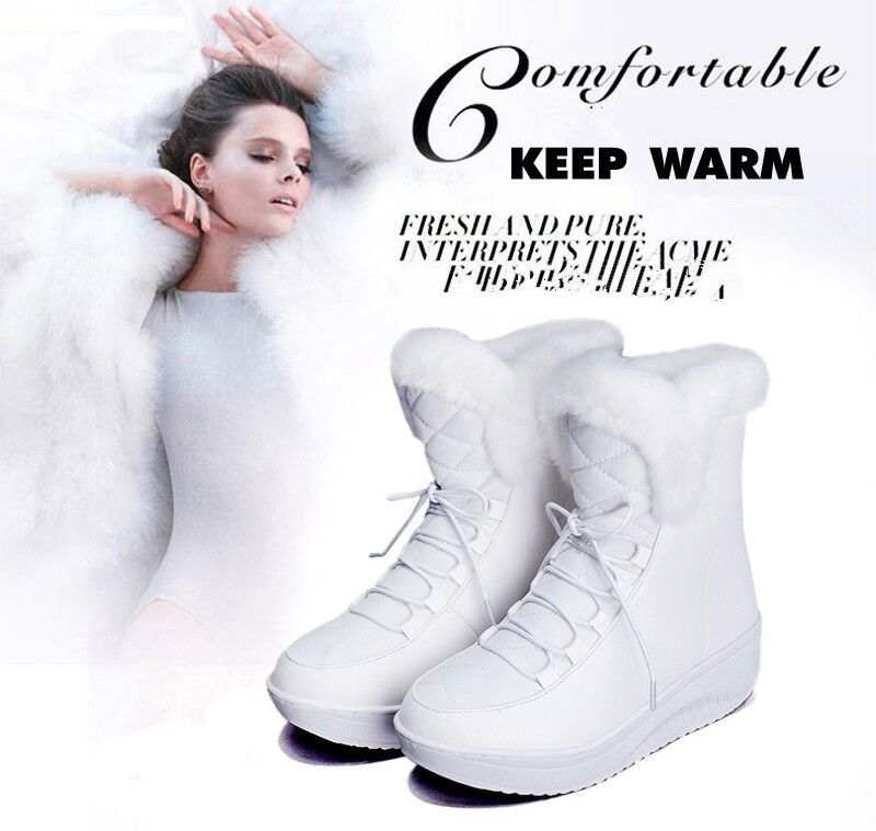 Boots Winter Women Snow S Fur Warm shoes Faux Fashion Ankle Lace Up Mid Calf New