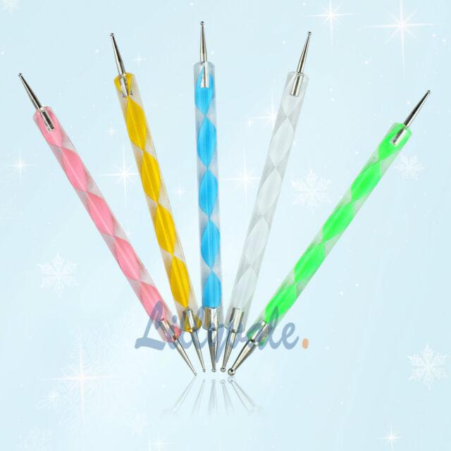 5x Nail Art Dotting Pen Crystal Marbleizing Tool Kit Set Manicure Painting 2-Way