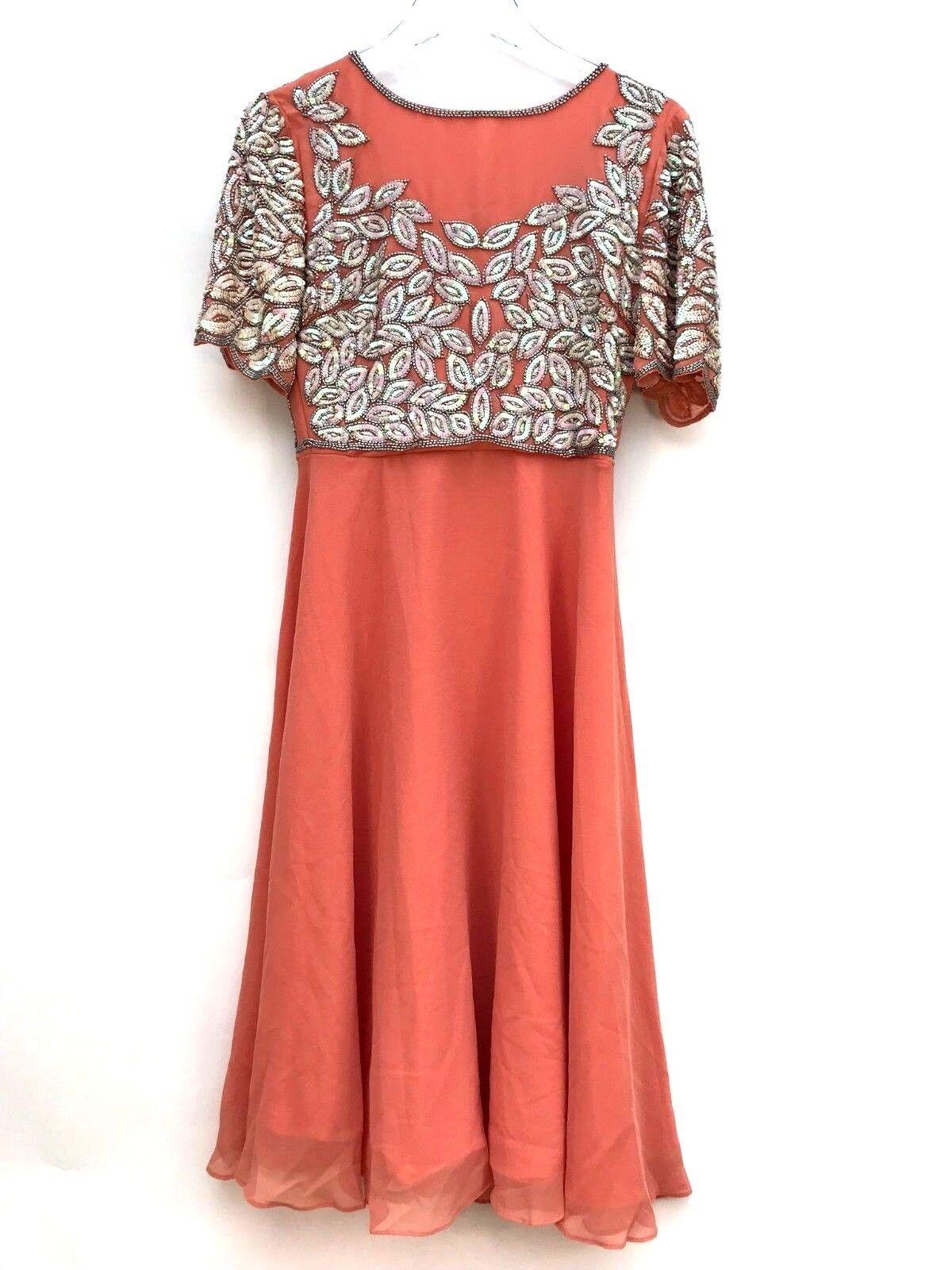 Virgos Lounge Vilma Peach Embellished Party Midi Dress Größe UK10 EUR38 US6