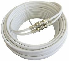 15m White Twin Satellite Sky Freesat Coax Cable Connectors&Barrels Fitted