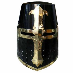 Medieval-Crusader-Helmet-Templar-Knight-Helmet-Black-Finish-Brass-Design-Liner