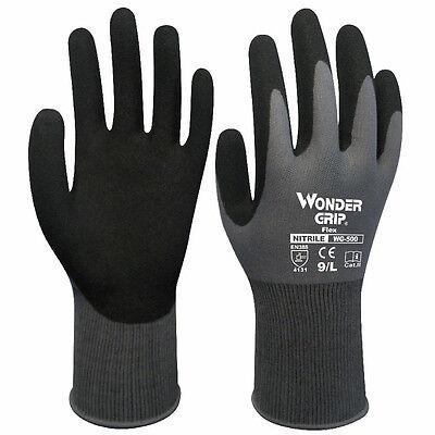 Wonder Grip Handschuhe Finger Fäustlinge Komfort Arbeits Nitril Überzug Nylon