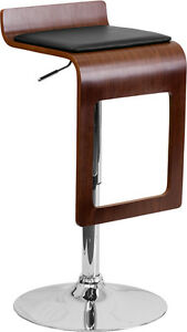 Swell Details About Walnut Bentwood Adjustable Height Bar Stool With Black Vinyl Seat And Drop Frame Pabps2019 Chair Design Images Pabps2019Com