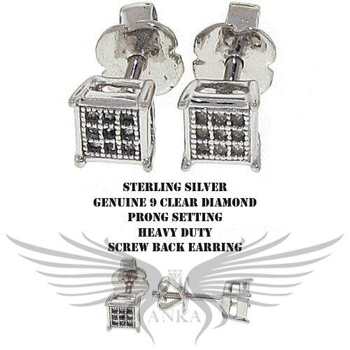 Genuine Natural Diamond Stud Earrings on 925 Sterling Silver DIAER-102 CLR