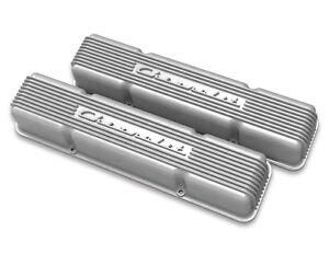 Details About Chevrolet Sbc Valve Covers Finned Chevrolet Script Aluminum 283 327 350 383
