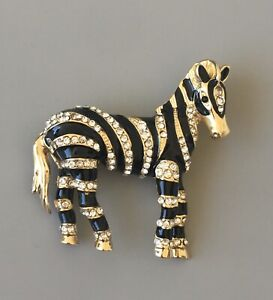 Unique-Zebra-Brooch-in-gold-tone-metal-with-crystals