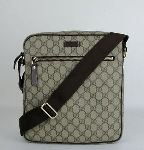 Details about Gucci Men\u0027s Beige/Ebony GG Coated Canvas Shoulder Bag 201448  FCIGG 8588