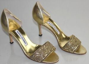 105db54b20b Image is loading New-Manolo-Blahnik-Pumps-Gold-Leather-Dorsay-Embroidered-