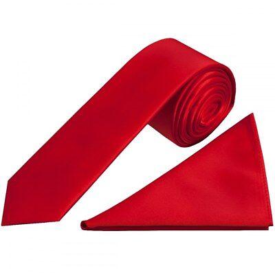 Fatto A Mano Rosso Scarlatto Raso Skinny Ragazzi Cravatta E Fazzoletto Da Taschino Set Matrimonio Cravatta-